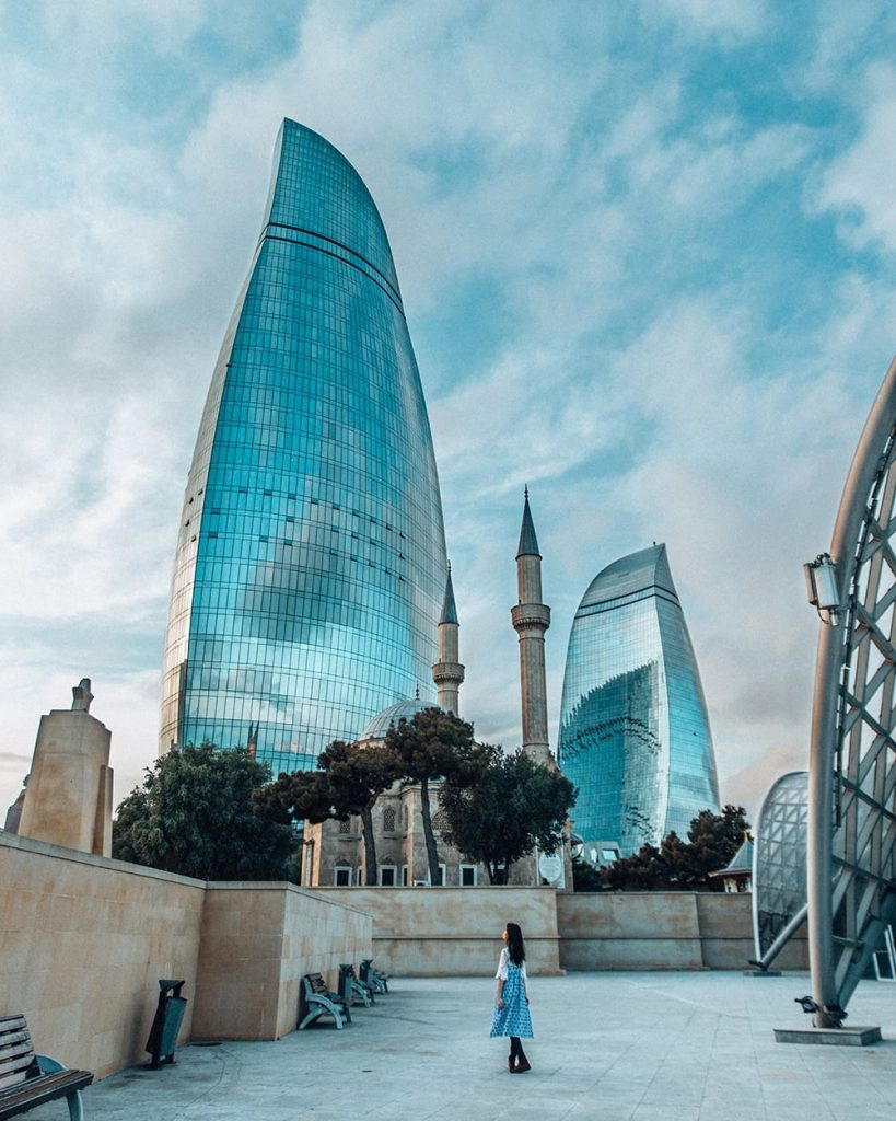 the flame towers in baku azerbaijan