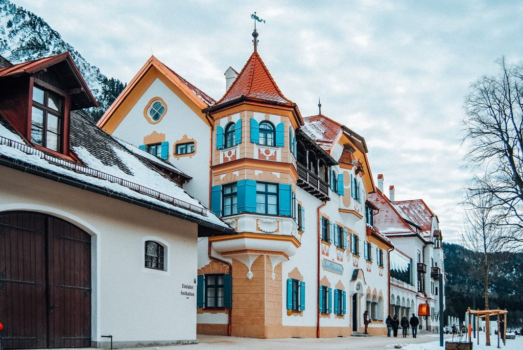 colorful village houses in bavaria germany
