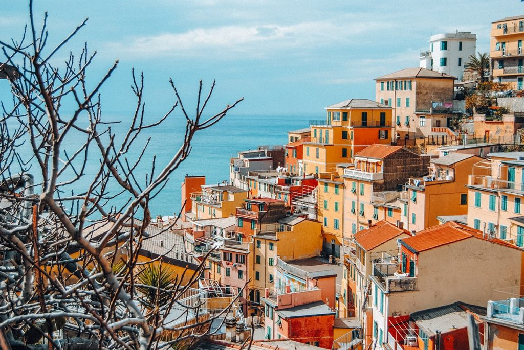 colorful houses by the coast in cinque terre italy