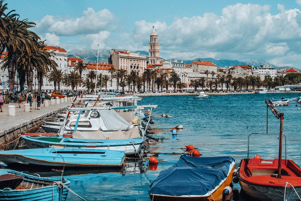 boats by the seaside of split croatia