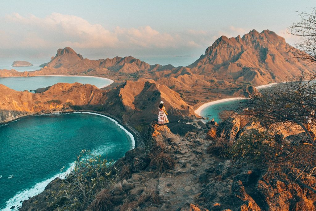 girl standing on padar island in komodo island indonesia