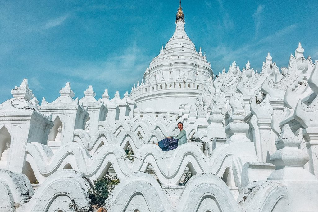 the white Hsinbyume Pagoda in myanmar