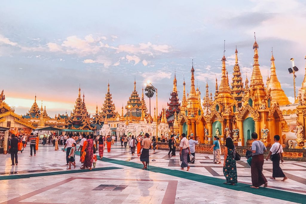 the temples of shwedagon pagoda in yangon myanmar