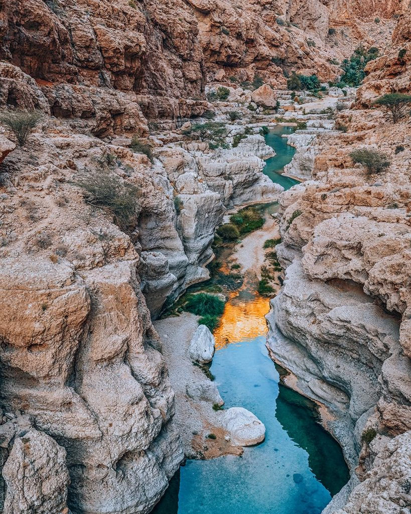 the canyons of wadi shab in oman