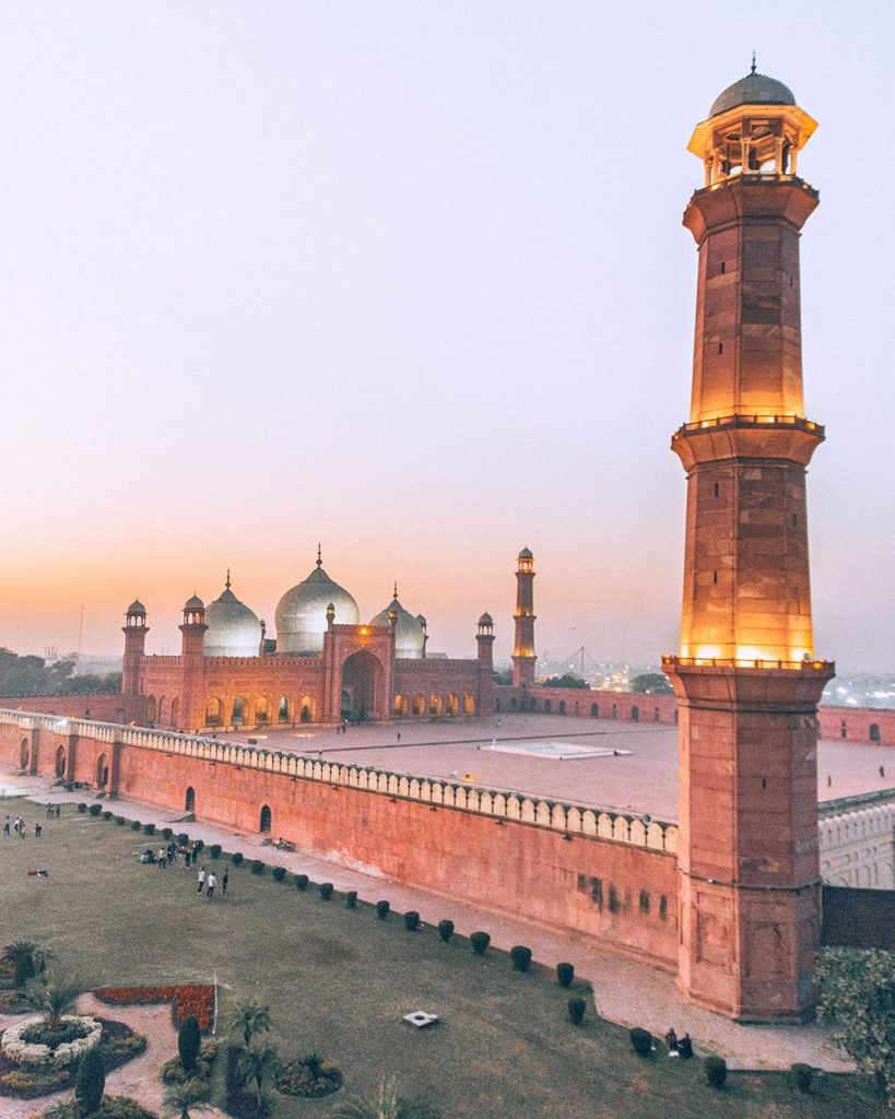 the view badshahi mosque in lahore pakistan from a nearby restaurant