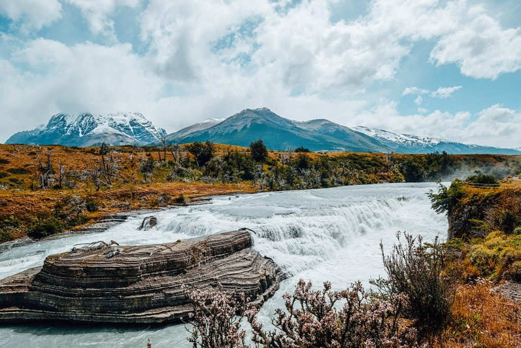 the view of mountain ranges and a river in patagonia chile
