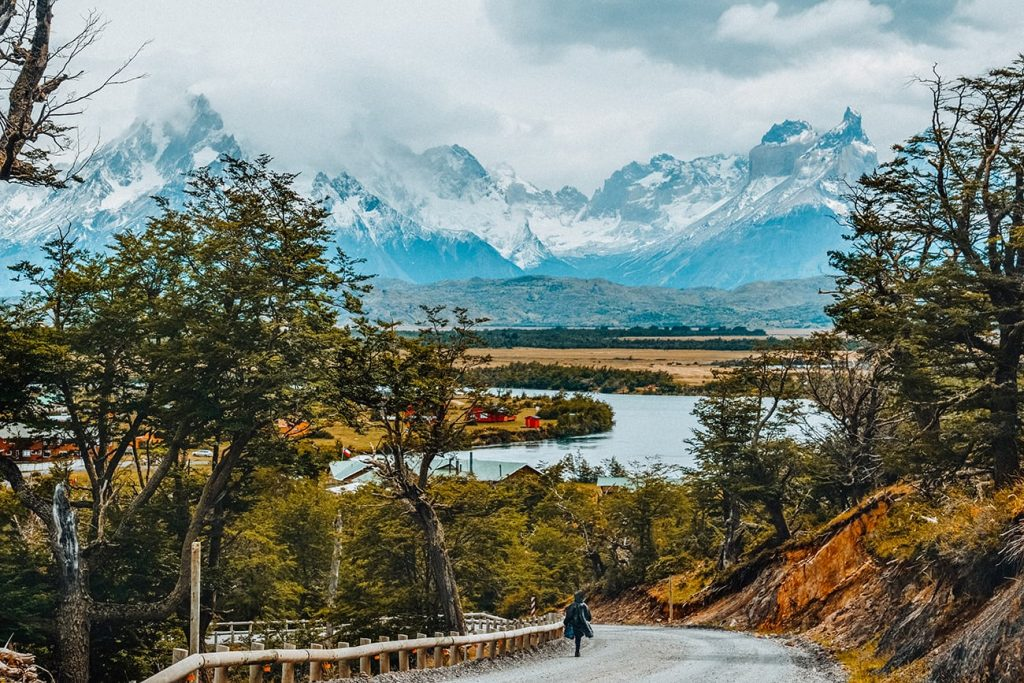 a mountain and river in patagonia chile