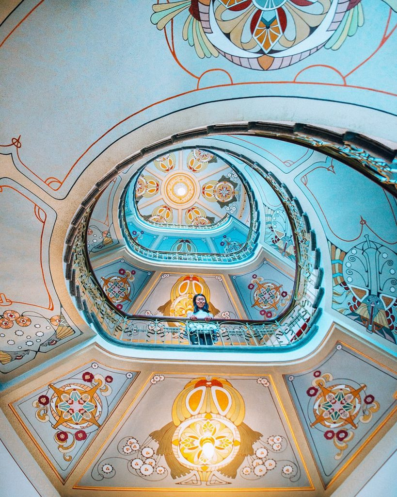 art nouveau architecture on staircase of museum in riga latvia