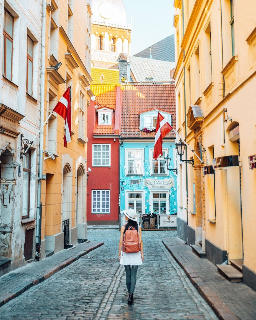 colorful buildings on a street in riga latvia