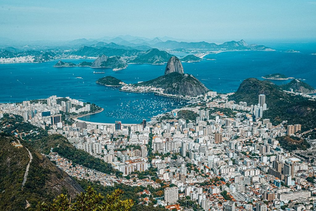 the city view of rio de janeiro brazil with the sea
