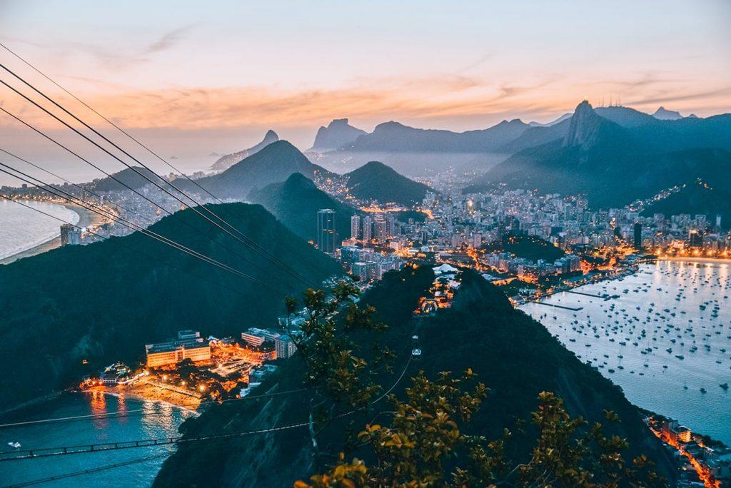 mountains and sea in rio de janeiro brazil