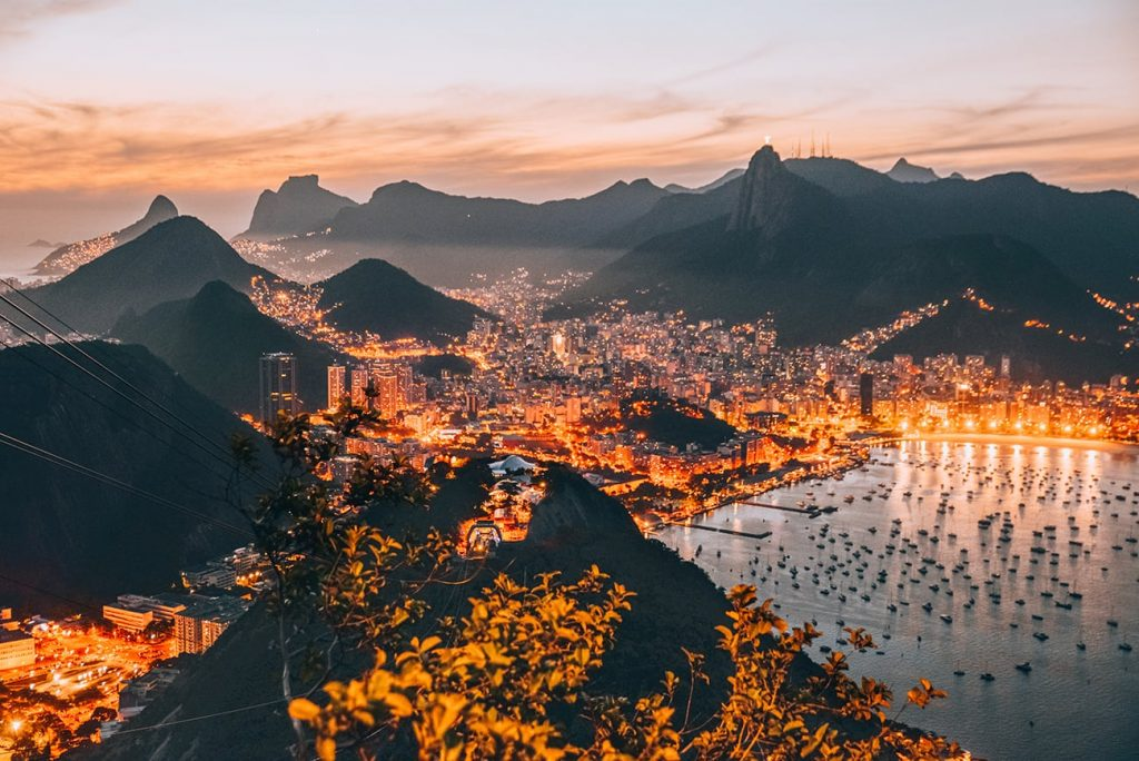 mountains and sea in rio de janeiro brazil during sunset