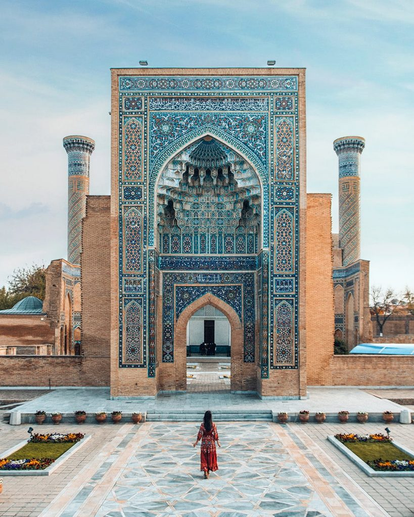 girl standing in gur e amir mausoleums in samarkand uzbekistan