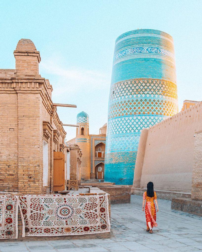 girl standing in khiva uzbekistan