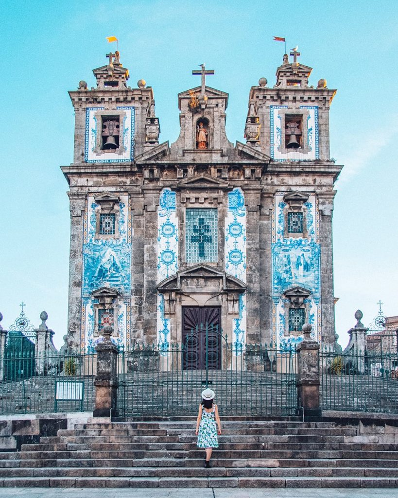 a church displaying traditional ceramic tiles in porto portugal
