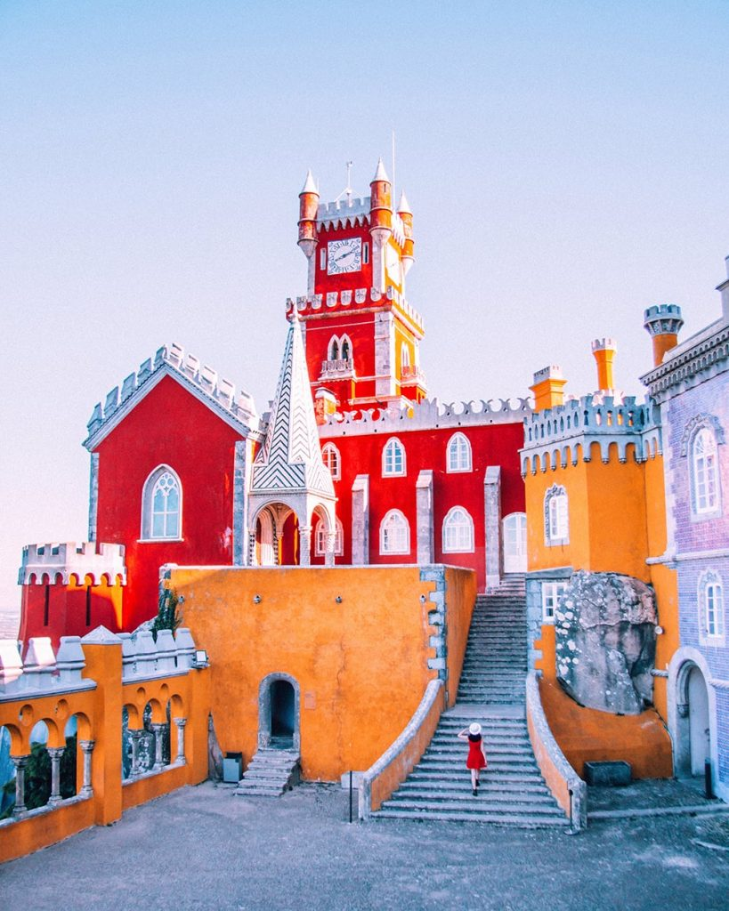 the colorful building of pena palace in sintra portugal