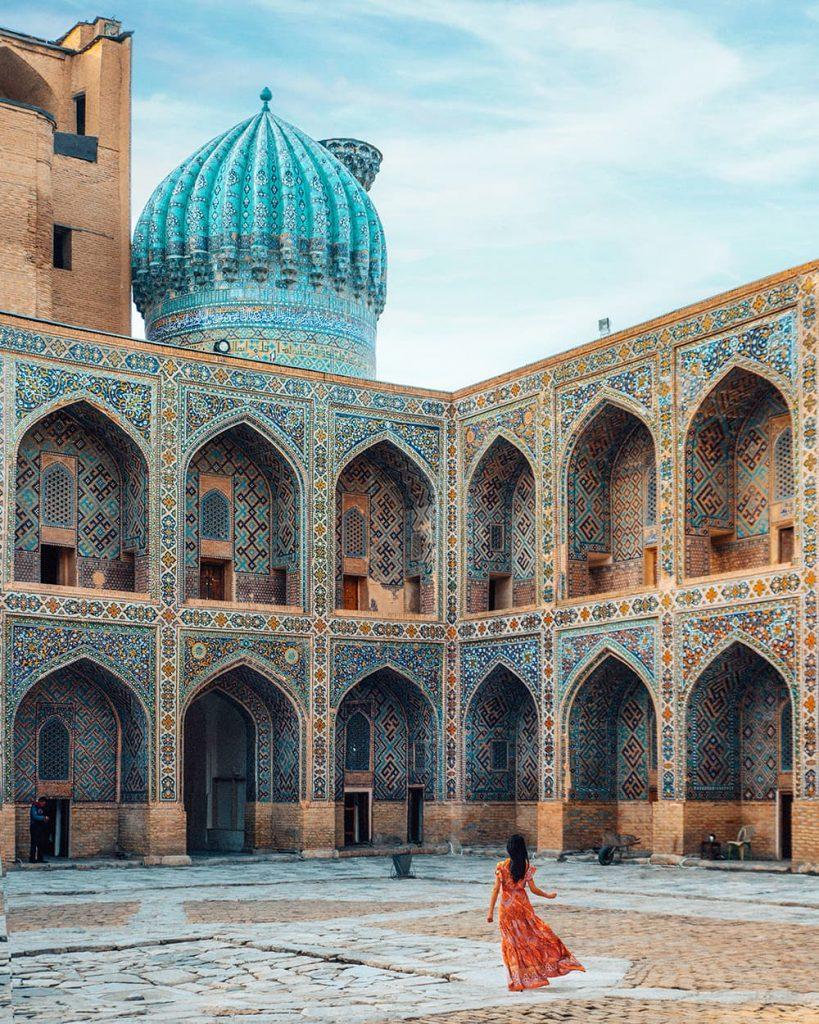 The Architecture in Registan in Samarkand, Uzbekistan