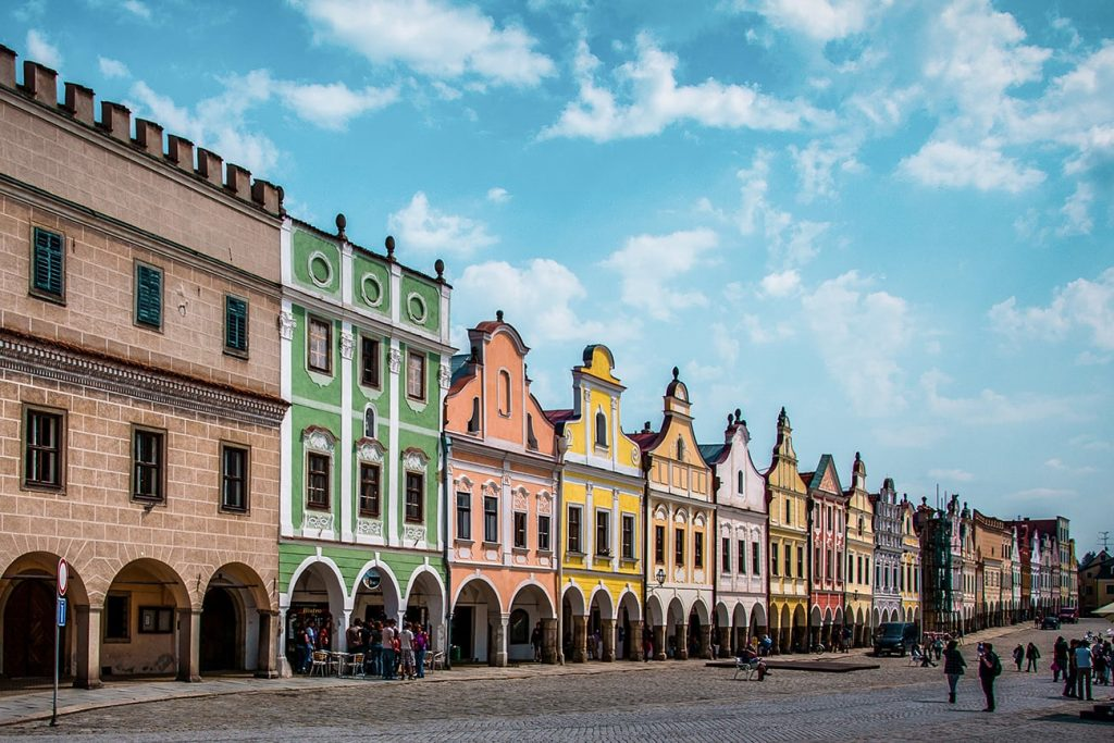 colorful buildings in Telč Czech Republic
