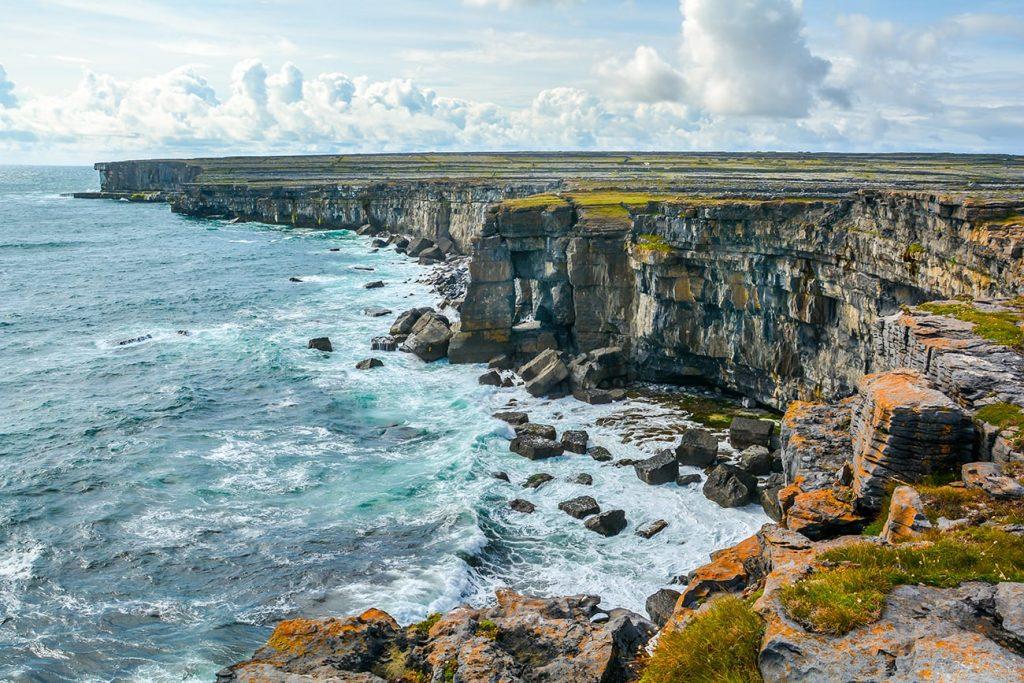 a cliff in aran islands ireland