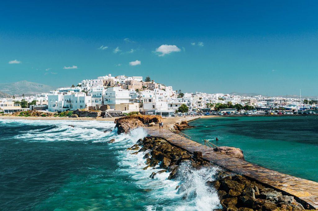 white houses on the island of naxos greece