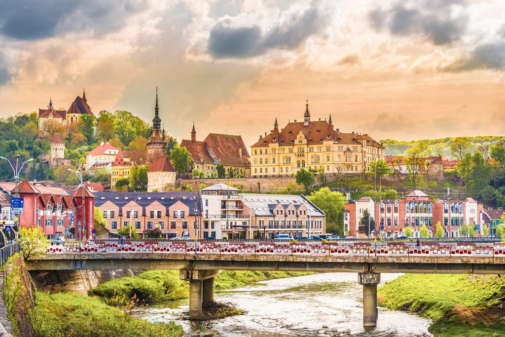 the fortress and colorful buildings of sighisoara romania