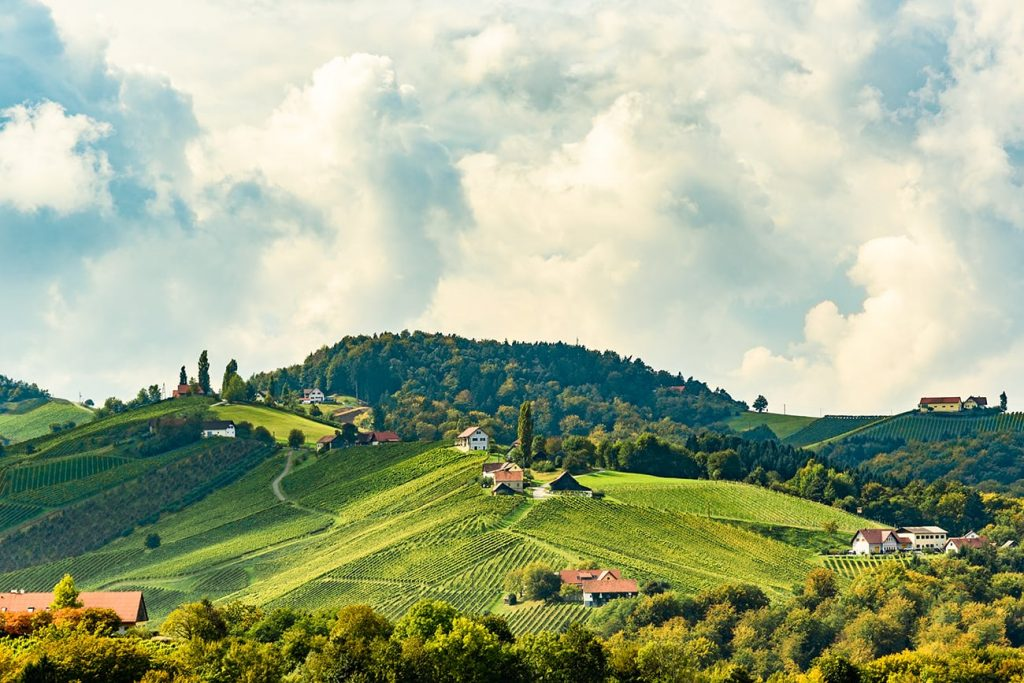 houses and green hills in south styria austria