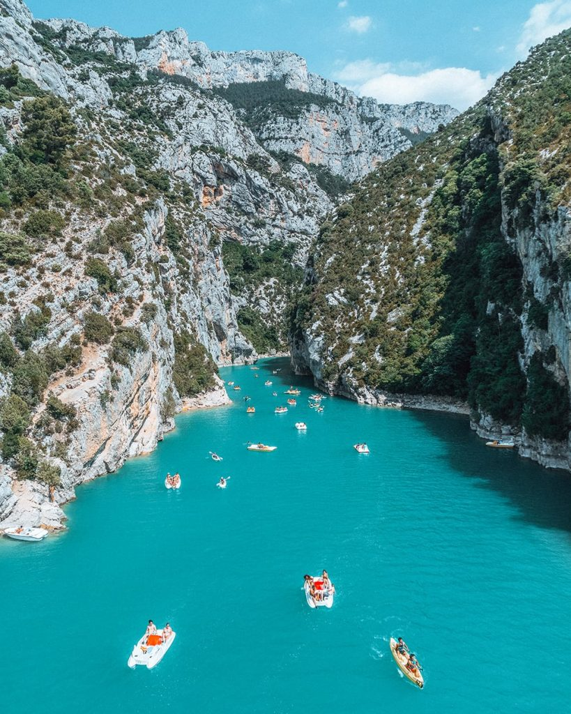 boats in the water of verdon gorges france
