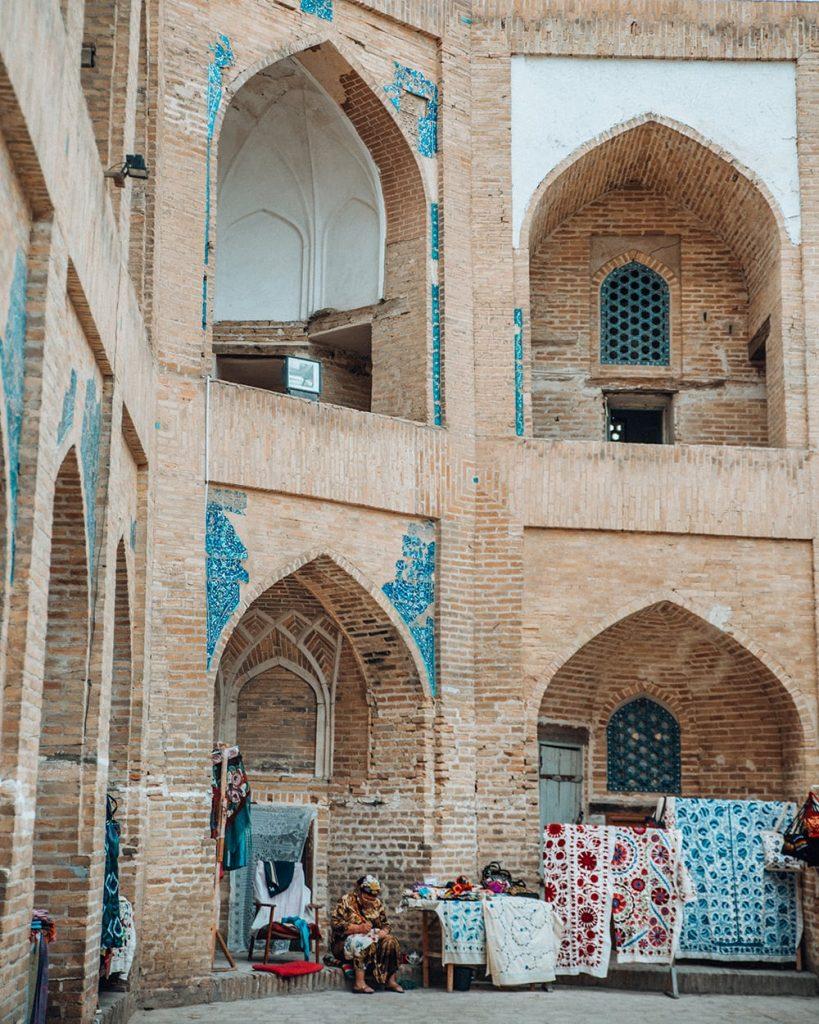 souvenir shops inside a madrasah in uzbekistan