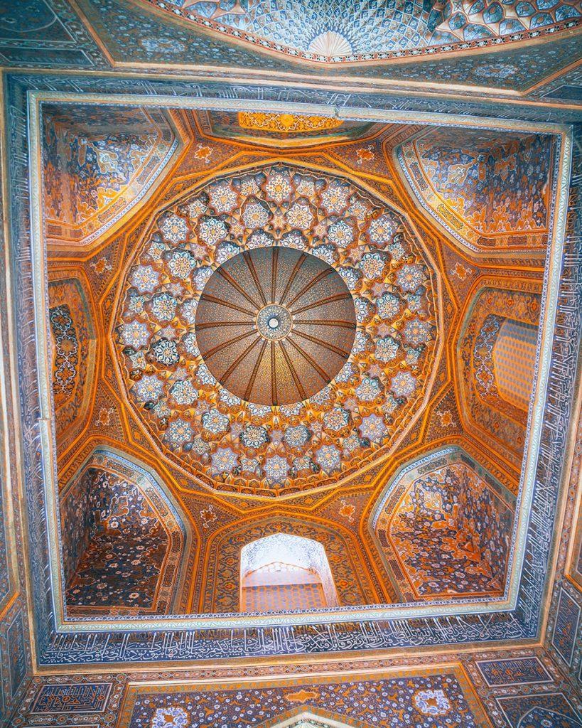 a ceiling in registan samarkand uzbekistan