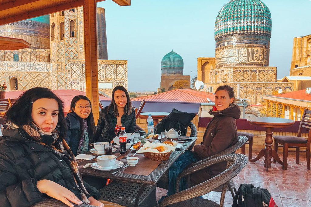 the scenic view at bibikhanum hotel restaurant in samarkand uzbekistan