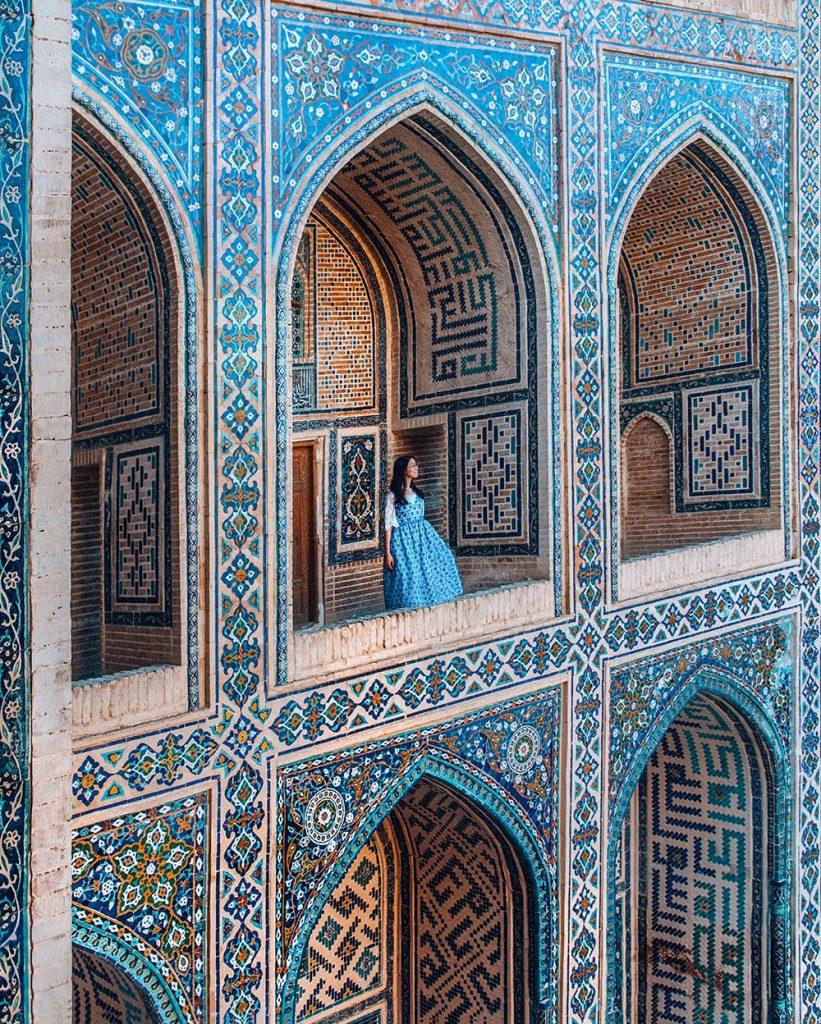 the tiles and architecture of registan uzbekistan