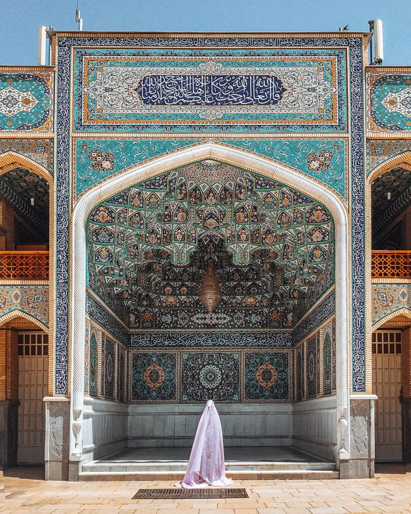 The Detailed Tilework of Shah Cheragh Shrine in Shiraz, Iran