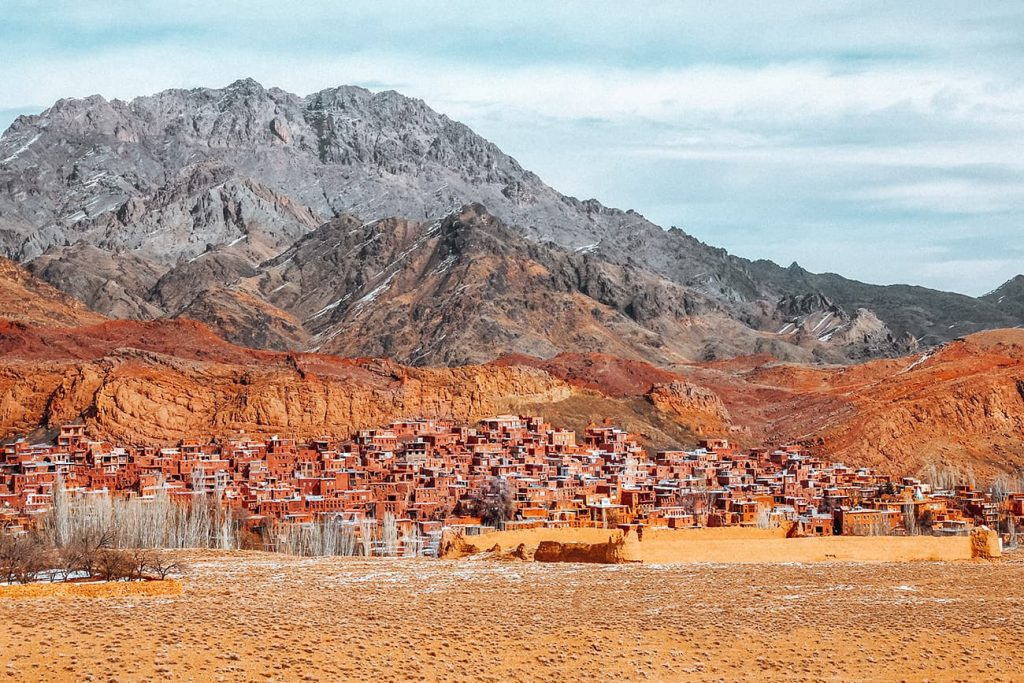 The Abyaneh Red Village At The Foot Of A Mountain in Iran
