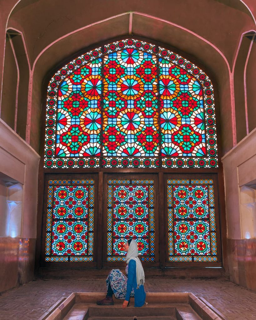 The Stained Glass Windows Inside Dolat Abad Garden in Yazd, Iran