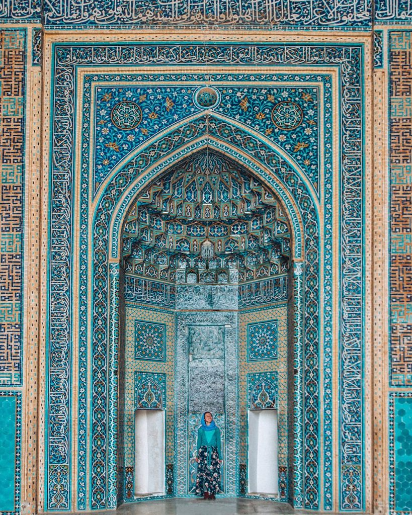 The Blue Tilework of the Mihrab in Jameh Mosque in Yazd, Iran