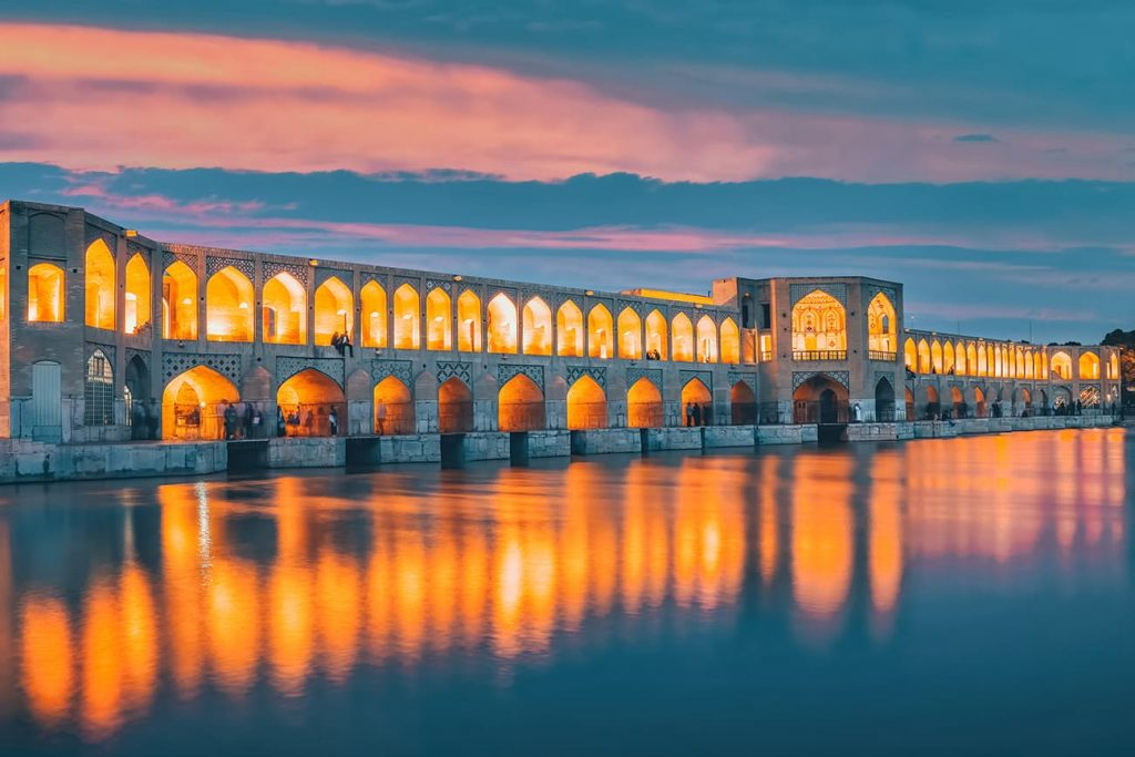 Khaju Bridge Lit Up At Night in Isfahan, Iran