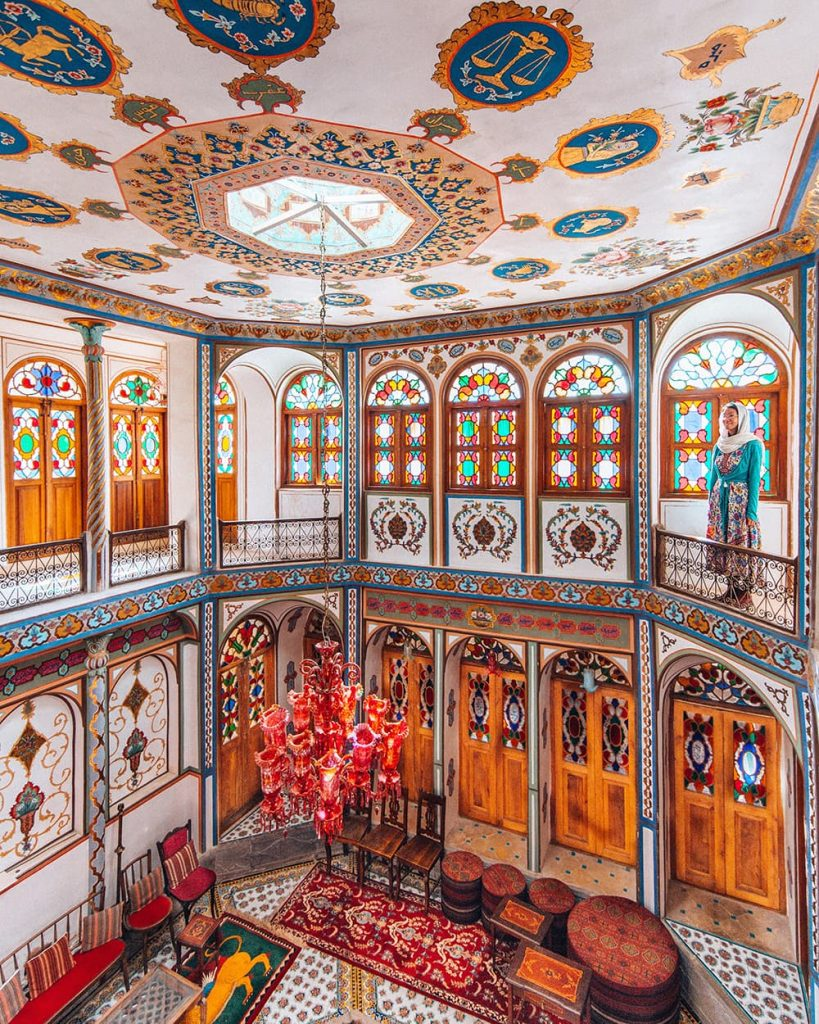 The Interior Decor and Stained Glass Windows of Mollabashi House in Isfahan, Iran