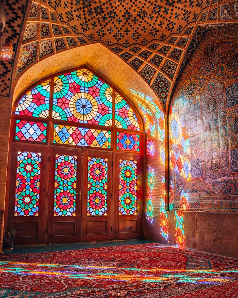 The Colorful Stained Glass Windows Inside the Pink Mosque in Shiraz, Iran