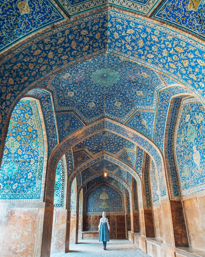 The Intricate Blue Tilework of Shah Mosque in Isfahan, Iran