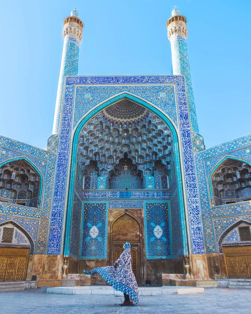 A Girl Standing in Front of Shah Mosque in Isfahan, Iran
