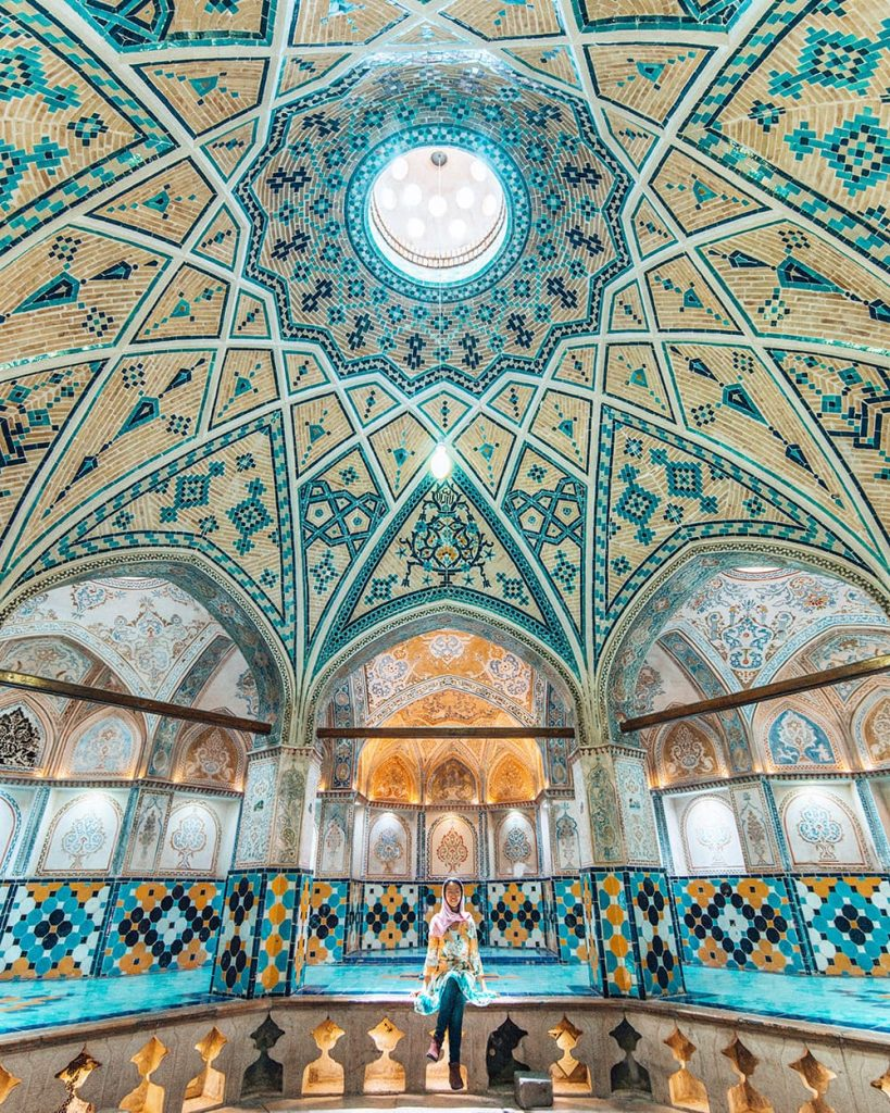 A Girl Sitting Inside Sultan Amir Ahmad Bathhouse in Kashan, Iran