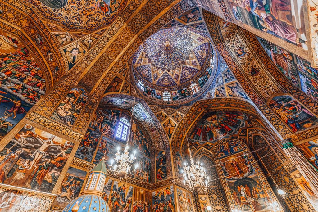 The Tiles And Paintings Inside Vank Cathedral in Isfahan, Iran