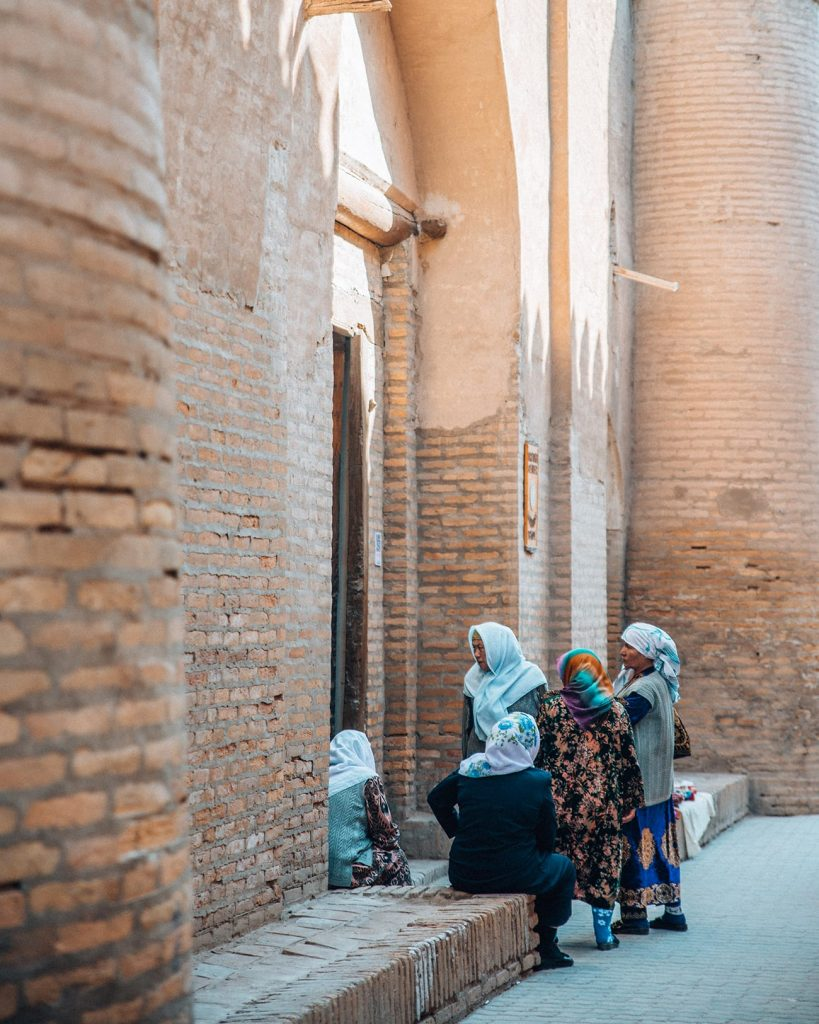 Local Ladies in a Narrow Alley in Khiva, Uzbekistan