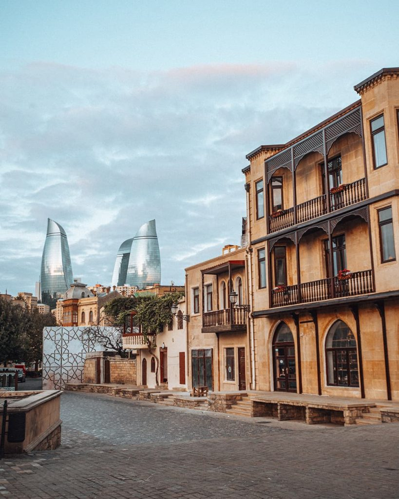 Ancient and Modern Buildings in Icherisheher, the Old Town of Baku, Azerbaijan