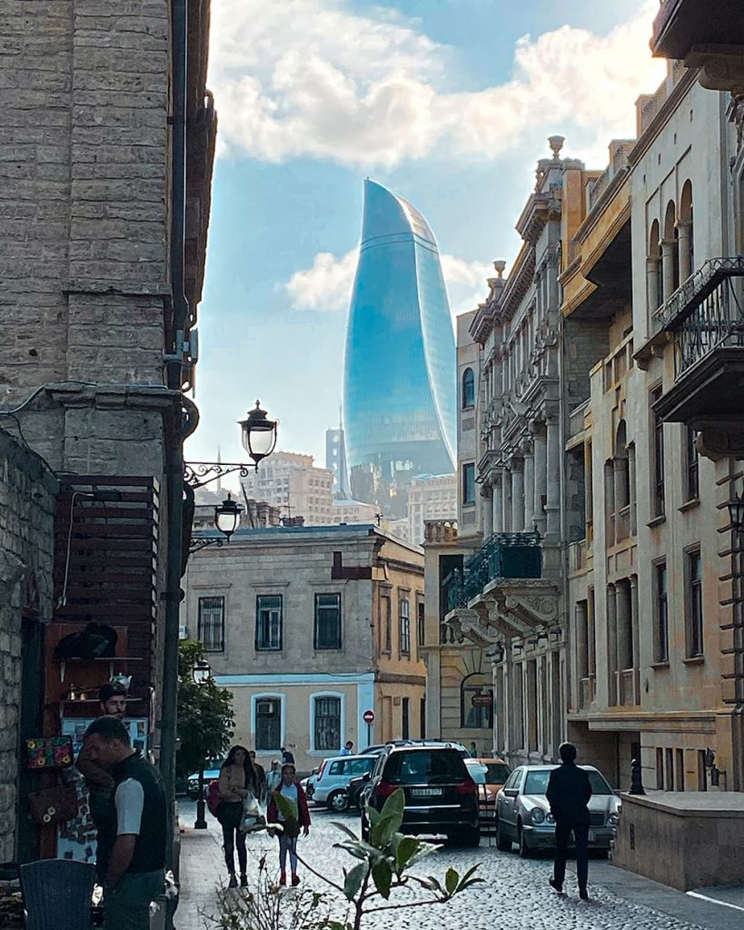 The Flame Towers Seen From Icherisheher, the Old Town of Baku, Azerbaijan