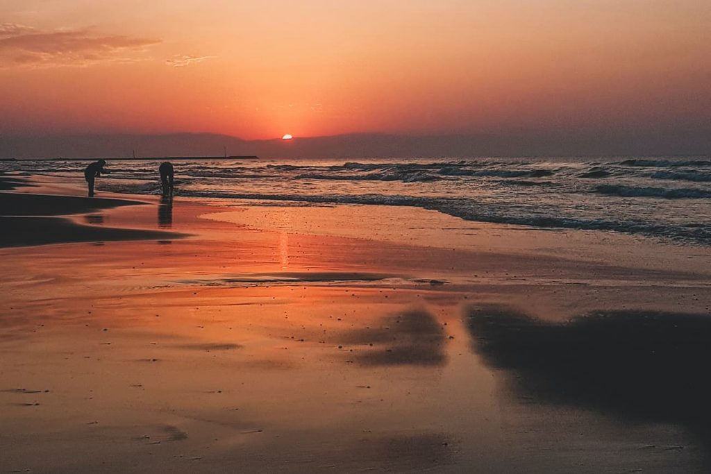 Sunset at the Beach in the Caspian Sea