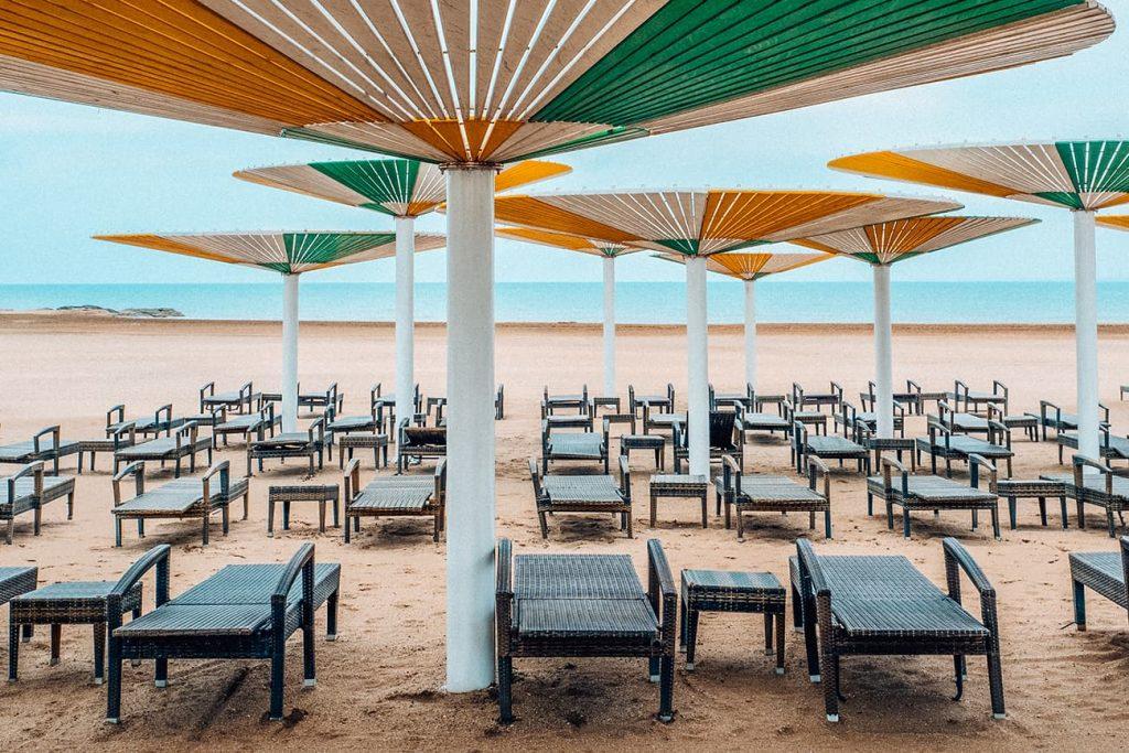 Umbrellas and Beach Beds at a Beach Club in Baku, Azerbaijan