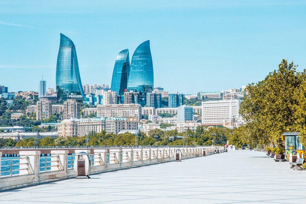 The View of the Flame Towers From Baku Boulevard in Baku, Azerbaijan