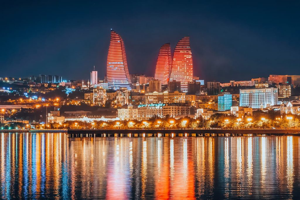The View of the Flame Towers at Night in Baku, Azerbaijan