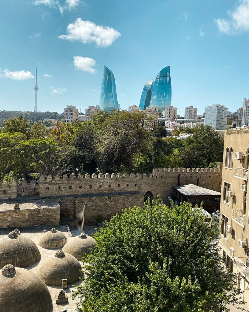 The View of the Flame Towers and Old City from Da Vinci Hotel in Baku, Azerbaijan